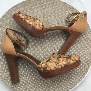 J Vincent Woven Leather Platform  Mary Jane Heels